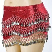 Red Velvet Belly Dance Hip Scarf