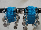 Blue belly dance hip scarf cuffs