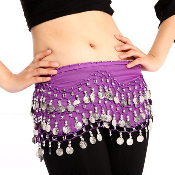 wonderful purple colored belly dancing hip scarf