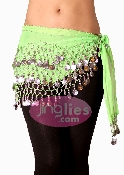 Lime Green colored belly hip scarf