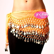 beautiful orange colored dance hip scarf