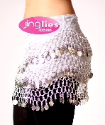 beautify white colored belly dancing scarf