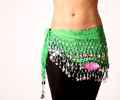 Emerald Green colored belly dancing scarf