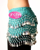 Coin style Teal Blue dancing hip scarf