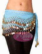 Aqua Colored Belly Dancing Hip Scarf